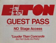 Elton John Backstage Pass