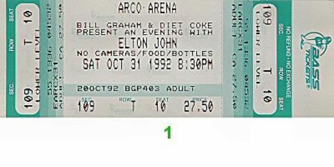 Elton John Vintage Ticket