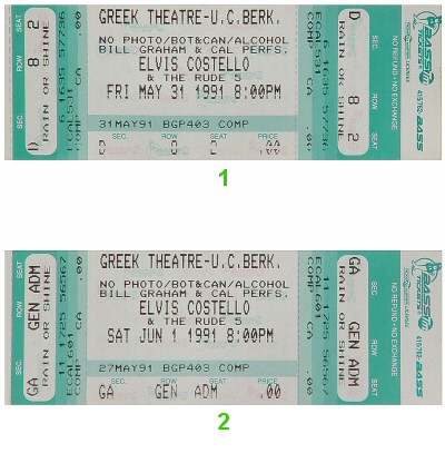 Elvis Costello Vintage Ticket