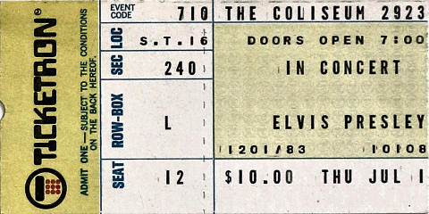 Elvis Presley Vintage Ticket