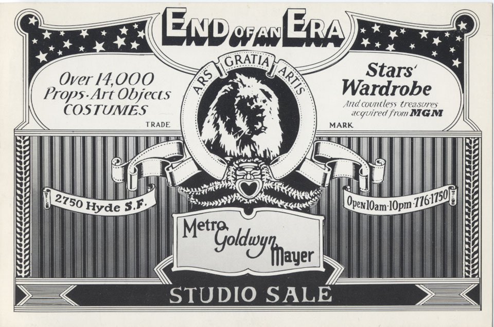End Of Era Studio Sale Handbill