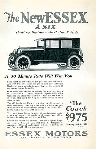 Essex A Six: The Coach Touring Model Vintage Ad