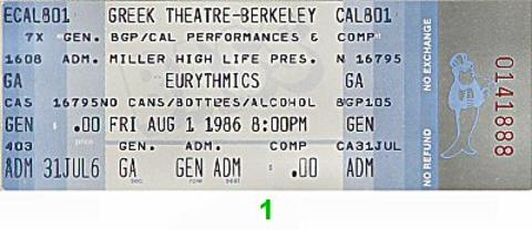 Eurythmics Vintage Ticket