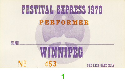 Festival Express Backstage Pass