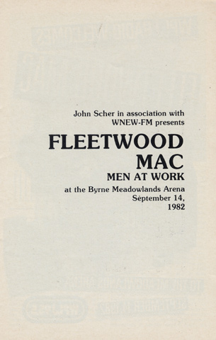 Fleetwood Mac Program reverse side