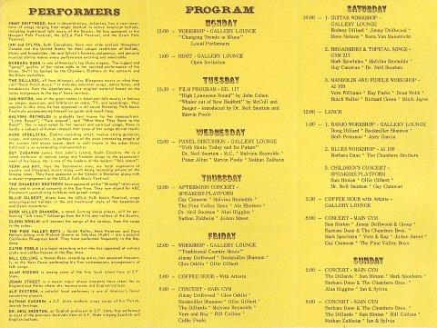 Folk Music Festival Program reverse side