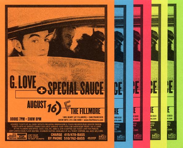 G. Love & Special Sauce Handbill reverse side