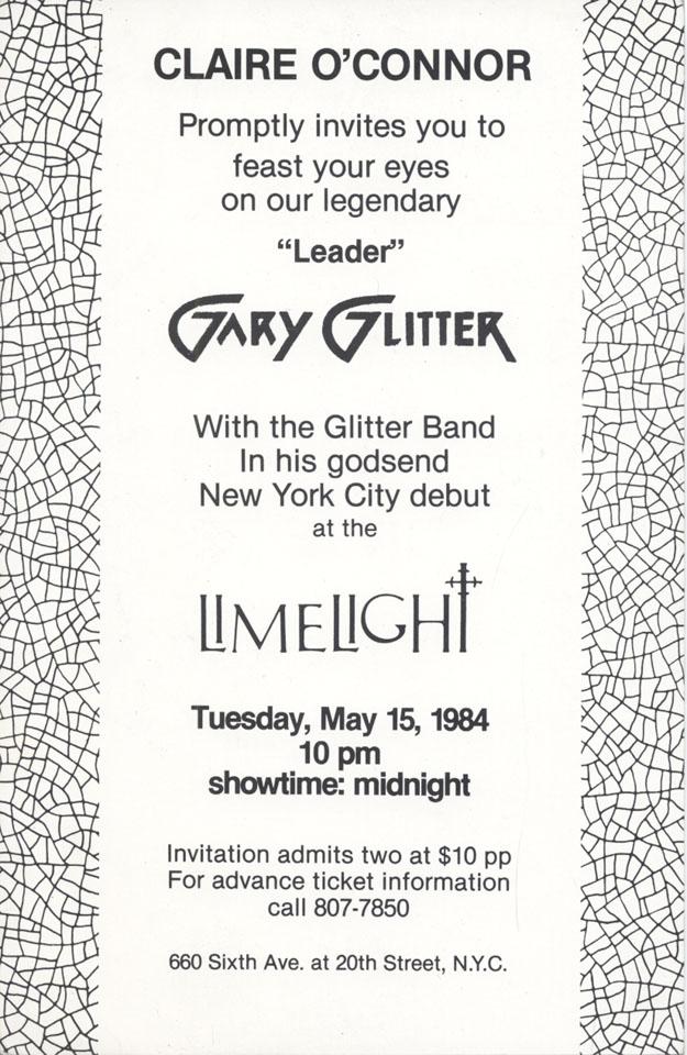 Gary Glitter Handbill reverse side