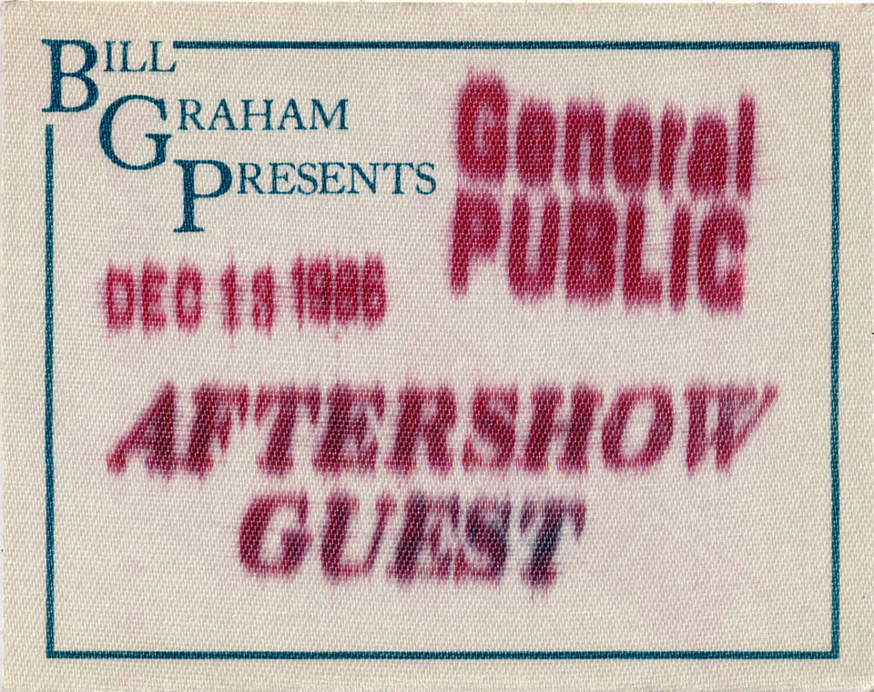 General Public Backstage Pass