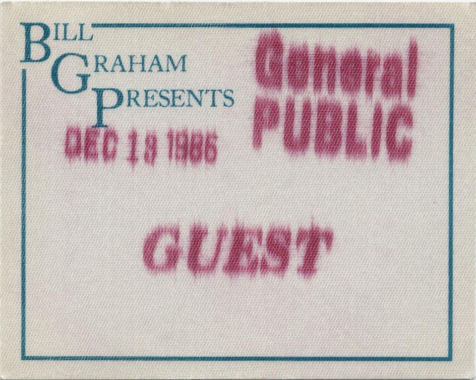 General Public Backstage Pass reverse side