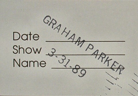 Graham Parker Backstage Pass reverse side