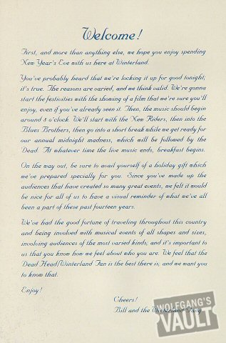 Grateful Dead Handbill reverse side