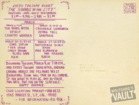 Grateful Dead Postcard reverse side