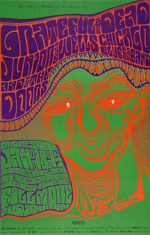 grateful dead vintage concert poster from fillmore auditorium jan