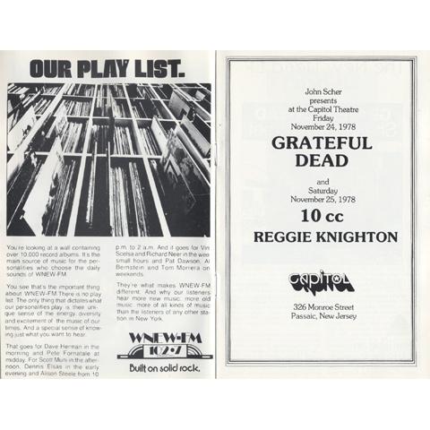 Grateful Dead Program reverse side