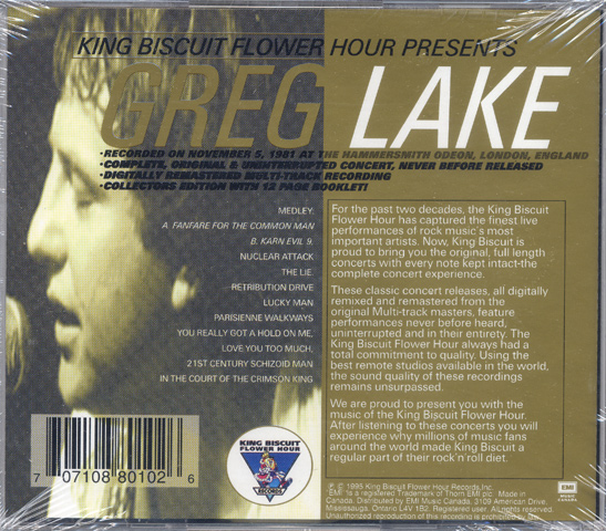 Greg Lake CD reverse side