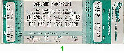 Hall & Oates Vintage Ticket