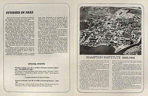 Hampton Institute Centennial Jazz Festival Program reverse side