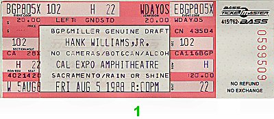 Hank Williams Jr. Vintage Ticket