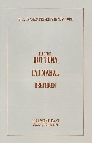 Hot Tuna Program reverse side