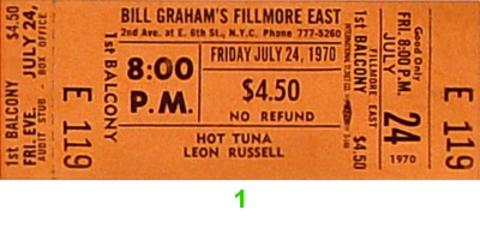 Hot Tuna Vintage Ticket