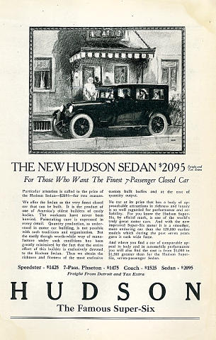 Hudson: Super-Six Sedan Vintage Ad