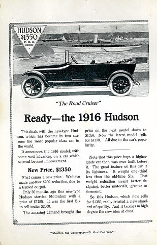 Hudson: The Road Cruiser Vintage Ad