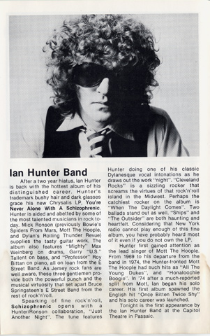 Ian Hunter Band Program reverse side
