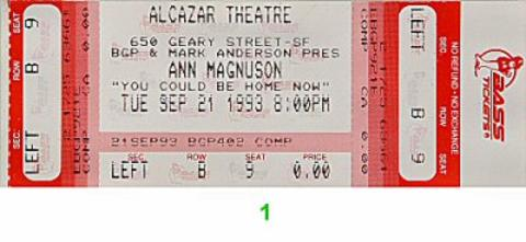 Ann Magnuson Vintage Ticket