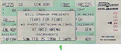 Tears for Fears Vintage Ticket