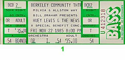 Huey Lewis & the News Vintage Ticket