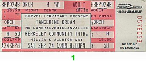 Tangerine Dream Vintage Ticket