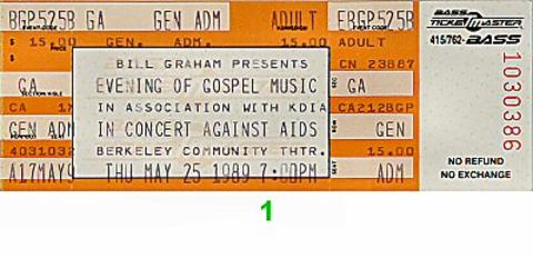 In Concert Against AIDS Benefit: Evening of Gospel Music Vintage Ticket