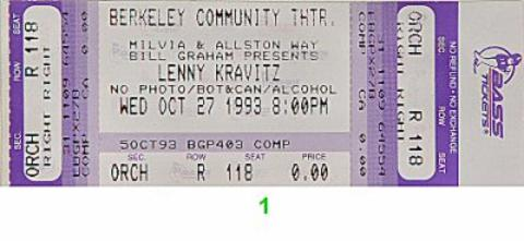 Lenny Kravitz Vintage Ticket