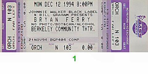 Bryan Ferry Vintage Ticket