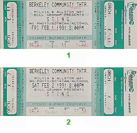 Sting Vintage Ticket