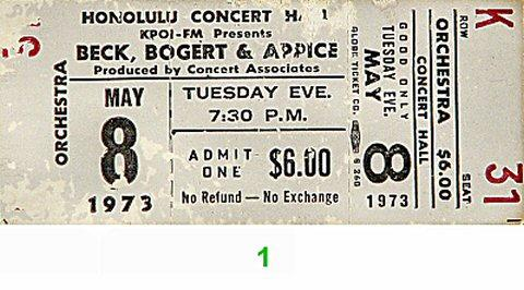 Beck Bogert & Appice Vintage Ticket