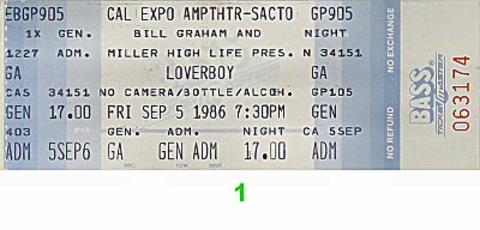 Loverboy Vintage Ticket