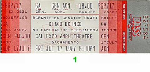 Oingo Boingo Vintage Ticket