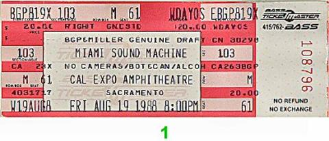 Gloria Estefan & Miami Sound Machine Vintage Ticket