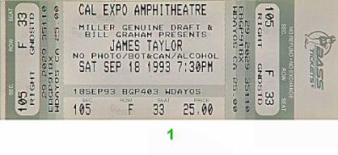 James Taylor Vintage Ticket