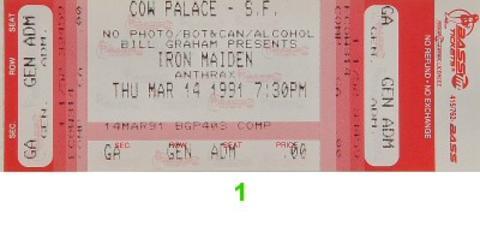 Iron Maiden Vintage Ticket