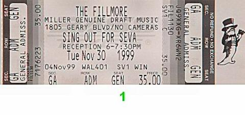 Sing Out for Seva Vintage Ticket