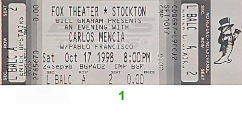 Carlos Mencia Vintage Ticket