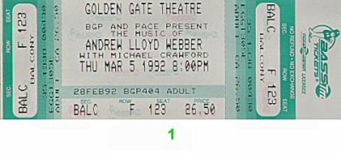 Michael Crawford Vintage Ticket