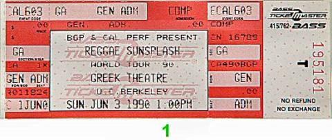The Wailers Vintage Ticket