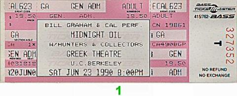 Midnight Oil Vintage Ticket