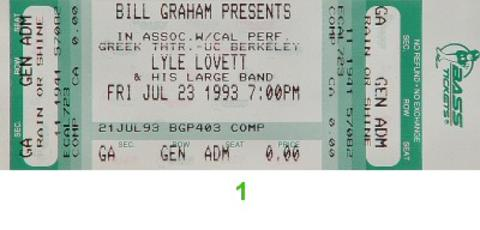 Lyle Lovett & His Large Band Vintage Ticket