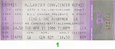 Echo & the Bunnymen Vintage Ticket