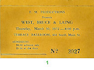 West, Bruce & Laing Vintage Ticket